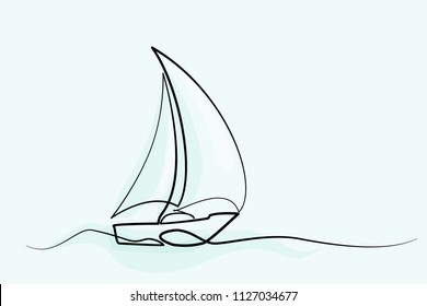 Continuous one line drawing of sailboat. Business icon. Vector illustration