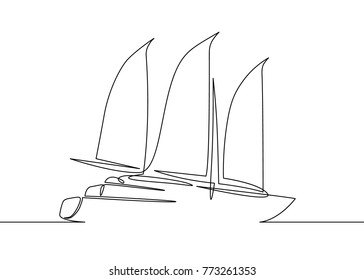 Continuous one line drawing of sailboat yacht modern