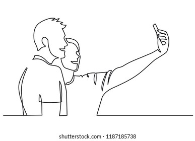 Continuous One Line Drawing of Selfie lover couple. Vector illustration portrait character of young man and woman, holding smartphone, making selfie photo with smile and happiness. Outline sketch
