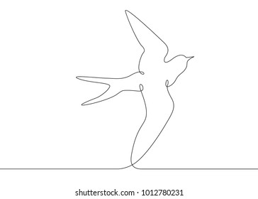 Continuous one line drawing silhouette of a bird flying.