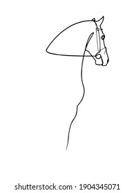 Continuous one line drawing sketch of horse. Black line on a white background. Animal vector graphic icon.