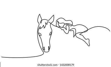 Continuous one line drawing. Small girl riding a horse. Black and white vector illustration. Concept for logo, card, banner, poster, flyer