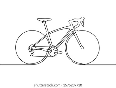 Continuous one line drawing of sporty bicycle or bike minimalism object. Vector sport theme.