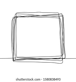 Continuous one line drawing of an square frame in the sketch technique of a constant black outline. Grunge rough shapes imitating a trace of a pencil on a white BG. Vector stock illustration. For text