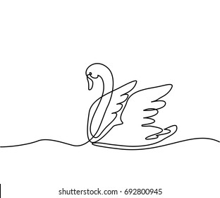 Continuous one line drawing. Swan logo. Black and white vector illustration. Concept for logo, card, banner, poster, flyer