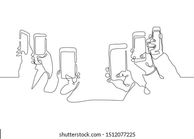 Continuous one line drawing In their hands phones smartphones. Six right hands holding smartphones directed by cameras to an empty center. Can be used for animation, as a mock up. Black line on white