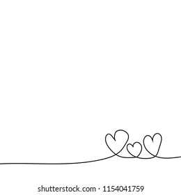 Continuous one line drawing of three heart  on white background.Family of love concept.