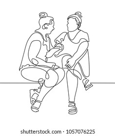 continuous one line drawing of two women are sitting and talking in modern minimalistic style, vector illustration