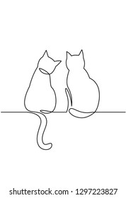 Continuous one line drawing of two happy cats silhouettes. Simple ink drawing sitting cats cute vector illustration. Doodle animals icons minimalistic line art.