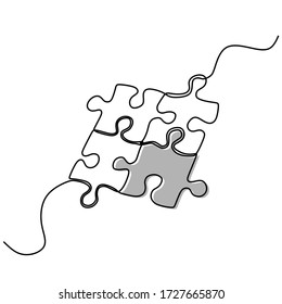 Continuous one line drawing of two pieces of jigsaw on white background. Puzzle icon minimalist design. Vector illustration for banner, template, poster, backdrop, web, app.