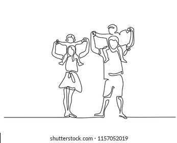 Continuous one line drawing vector illustration. Happy family father and mother with children on shoulders