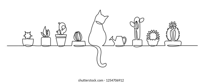 Continuous one Line Drawing of Vector Cute Cactus. Black and White Sketch House Plants with a cat and a watering can on the window sill. Isolated Potted Cactus Family Hand Drawn Illustration