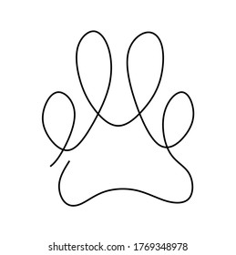 Continuous one line drawing vector illustration of a paw pad