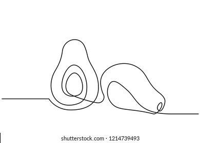 Continuous one line drawing. Vegetables two avocado. Vector illustration