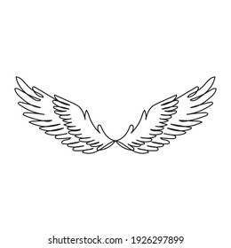 Continuous one line drawing a vintage heraldic wings bird. Vector illustration.