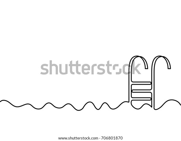 Continuous One Line Drawing Wave Swimming Stock Vector ...