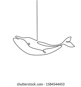 Continuous one line drawing of whale fish minimalism design. Vector animal mammal sea world.