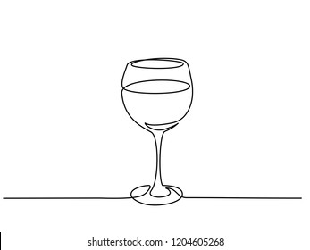 Continuous one line drawing. Wine glass. Vector illustration