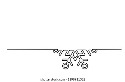 Continuous one line drawing. Winter Christmas holiday snowflake . Vector illustration