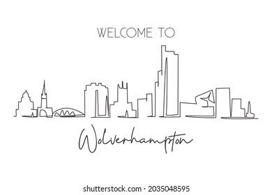Continuous one line drawing Wolverhampton skyline, England. Famous city scraper landscape. World travel home wall decor art poster print concept. Single line draw design vector graphic illustration
