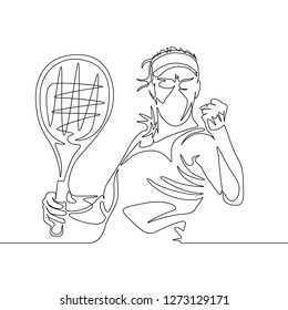 Continuous one line drawing woman tennis player clenches his fist in the winning position