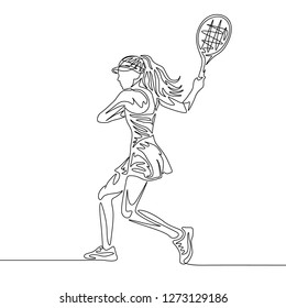 Continuous one line drawing woman tennis player swings racket to hit the ball