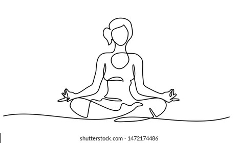 Continuous one line drawing. Woman sitting cross legged meditating. Vector illustration