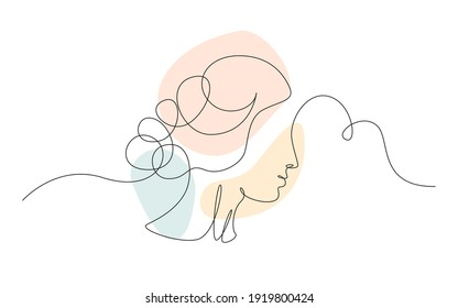 Continuous one line drawing of a woman's face. Horizontal Elegant minimalistic portrait of female with abstract pastel shape for a logo, emblem or web banner. Vector illustration