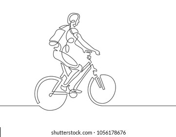 continuous one line drawing of young woman riding a bicycle in minimalistic style, vector illustration