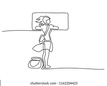 Continuous one line drawing. Young woman traveler looking out from window of train. Vector illustration