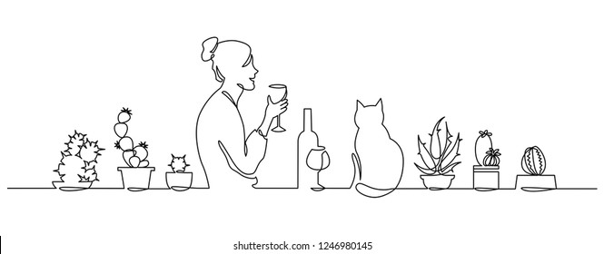 Continuous one Line Drawing young girl drinks wine at home by the window with cat and Cute House Plants. Vector sketch illustration Evening activities, lifestyle, women's loneliness. After work