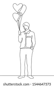 continuous one line drawing Young smiling man holds heart shaped balloons. A full-length silhouette of a man stands relaxed.The concept of kindness, openness, love.It can be used for animation. Vector
