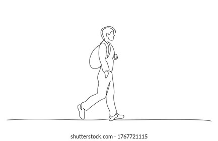 Continuous one line drawing. Young man walking on street with backpack. Student college with bag. Vector illustration