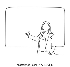 Continuous one line drawing of a young woman teacher giving a lesson in from of the class behind the blackboard. Vector illustration