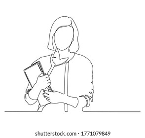 Continuous one line drawing of a young woman teacher carrying books. Vector illustration