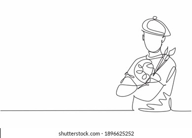 Continuous one line drawing of young male painter artist pose cross arm on chest before painting. Professional job profession minimalist concept. Single line draw design vector graphic illustration