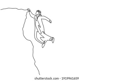 Continuous one line drawing of young handsome Arab male worker hanging tight on cliff edge. Success business struggle, metaphor minimalist concept. Single line draw design vector graphic illustration