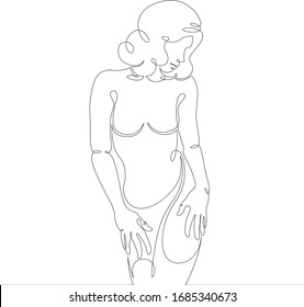 Continuous one line drawing.Portrait of a beautiful cute slim young woman girl.Concept sign doodle cartoon character flat modern minimal illustration.