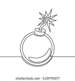 Continuous one line drawn Bomb, line icon. Round bomb with a burning wick, vector linear illustration