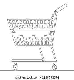 Continuous one line drawn Shopping Cart. One line drawing outline isolated vector illustration