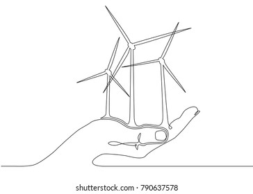 Continuous one line drawn silhouette of wind turbine alternative energy. The concept of the symbol of ecology and protection of nature.Power plant in the palm of a man.