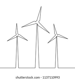 Continuous one line drawn wind turbine alternative energy. Concept symbol of ecology and protection of nature Vector illustration