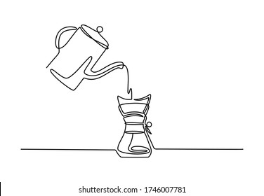 Continuous one line dripper of coffee. Hand drawing art brewing coffee theme with linear pot for logo isolated on white background. Simple sketch design. Vector illustration