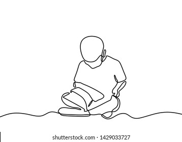 Continuous one line drwing children reading book. Kids read books with minimalism style on white background back to school theme.