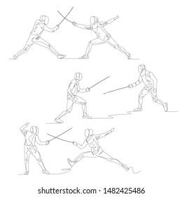 Continuous one line fencer set. Summer kind sport