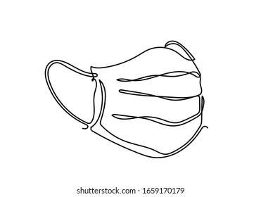 Continuous one line illustratione of Safety breathing Industrial safety N95 or covid-19 and corona virus masks.