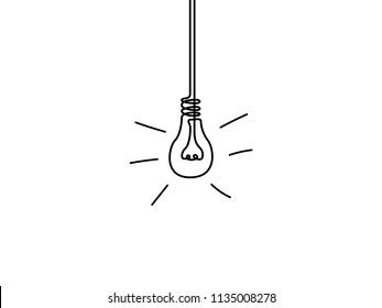 Continuous one line light bulb, idea concept. Vector illustration