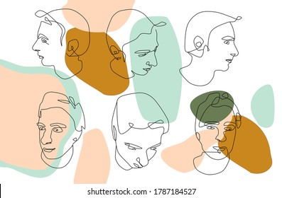 Continuous one line modern abstract male faces.Set of six hand drawn contemporary silhouettes.Minimalistic concept with fashionable men's style.Pastel color trendy vector illustrations.Mid century art