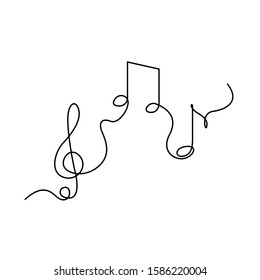 Continuous one line treble clef and notes, musical notes, A or La. Stock vector illustration.