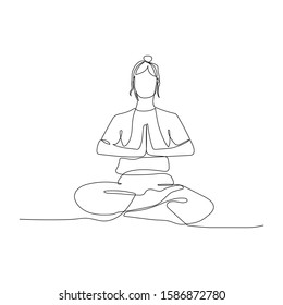 Continuous one line woman sitting in lotus position. Yoga. Vector stock illustration.